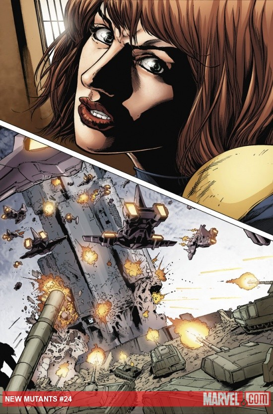 New Mutants (2009) #24 preview art by Steve Kurth