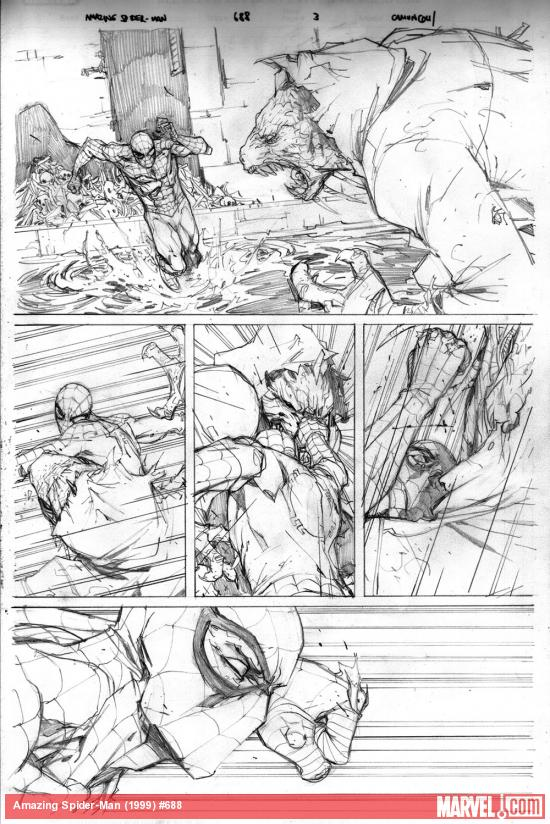 Amazing Spider-Man #688 pencil art by Giuseppe Camuncoli