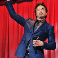Robert Downey Jr. on stage at the 2011 Disney D23 Expo, for The Avengers