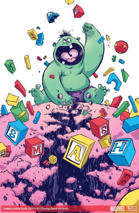 Indestructible Hulk #1 Baby Variant cover by Skottie Young