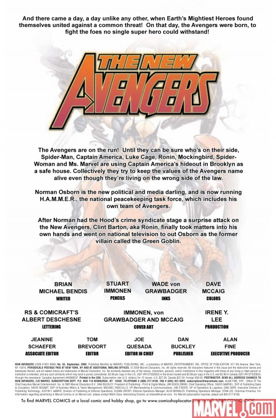 NEW AVENGERS #55, intro page