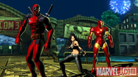 Deadpool, X-23 and Iron Man in Marvel vs. Capcom 3