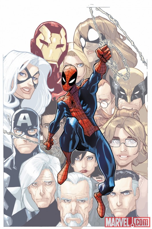 Image Featuring Iron Man, Mr. Fantastic, May Parker, Spider-Man, Wolverine, The Winter Soldier, Carlie Cooper, Spider-Girl (Anya Corazon)