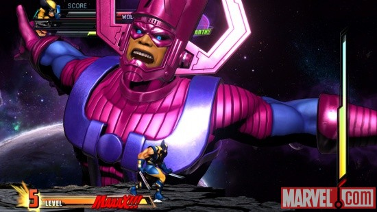 Marvel vs. Capcom 3 screenshot: Galactus vs. Wolverine