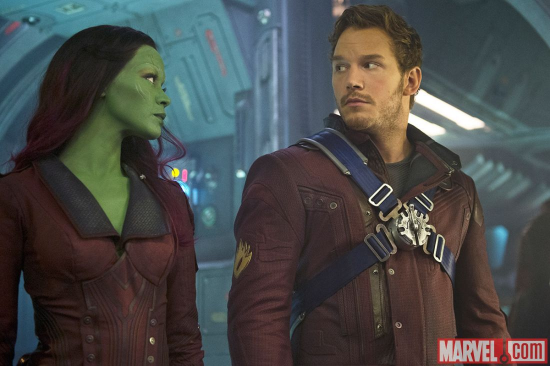 In Guardians of the Galaxy, the green-skinned Gamora looks over at the main male character