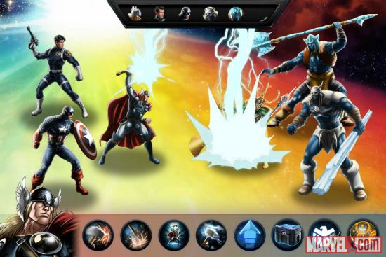 Thor strikes in Marvel: Avengers Alliance, now available on iOS devices