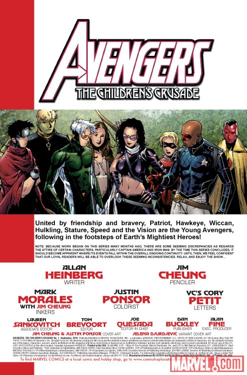 AVENGERS: THE CHILDREN'S CRUSADE #1 recap page