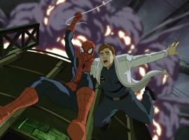 Spider-Man & Dr. Curt Connors in the season premiere of Ultimate Spider-Man