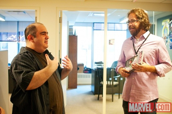 Amazing Spider-Man writer Dan Slott with Jonathan Coulton at Marvel HQ in NYC
