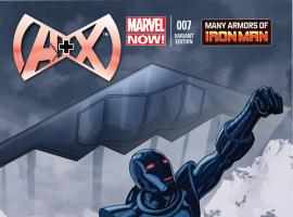 cover from A+X (2012) #7 (RENAUD IRON MAN MANY ARMORS VARIANT)