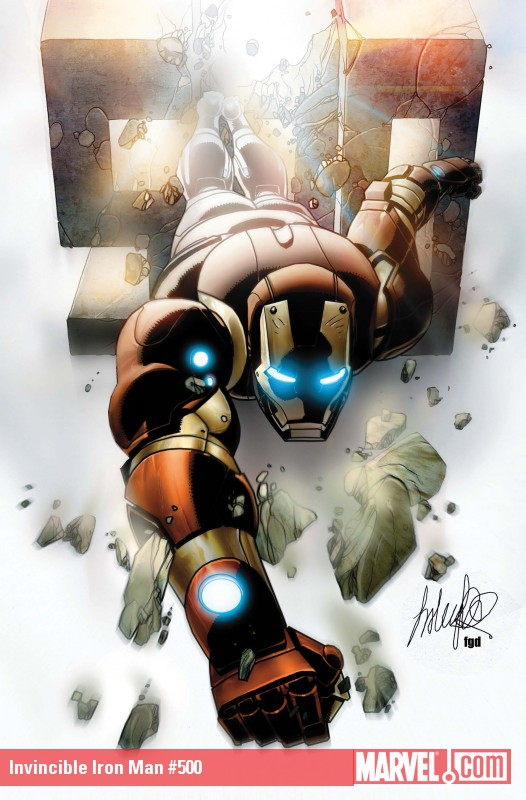 Invincible Iron Man #500 cover by Salvador Larroca