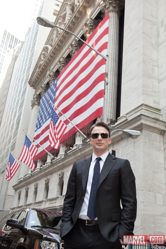Captain America star Chris Evans at the NYSE. Photo by Ben Hider.