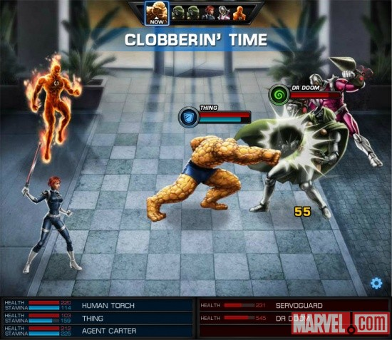 Screenshot of the Thing and the Human Torch vs. Doctor Doom in Marvel: Avengers Alliance