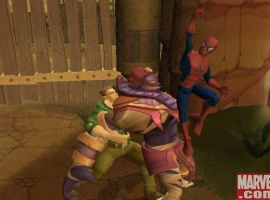 The Sandman holds down an enemy while Spider-Man delivers an uppercut.