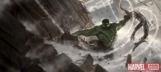Marvel's The Avengers concept art featuring the Hulk by Charlie Wen