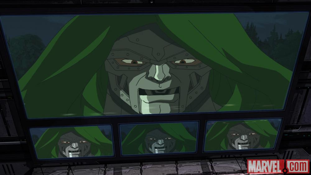 Doctor Doom appears on screen