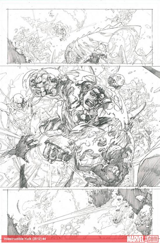 Indestructible Hulk #4 preview pencils by Leinil Francis Yu