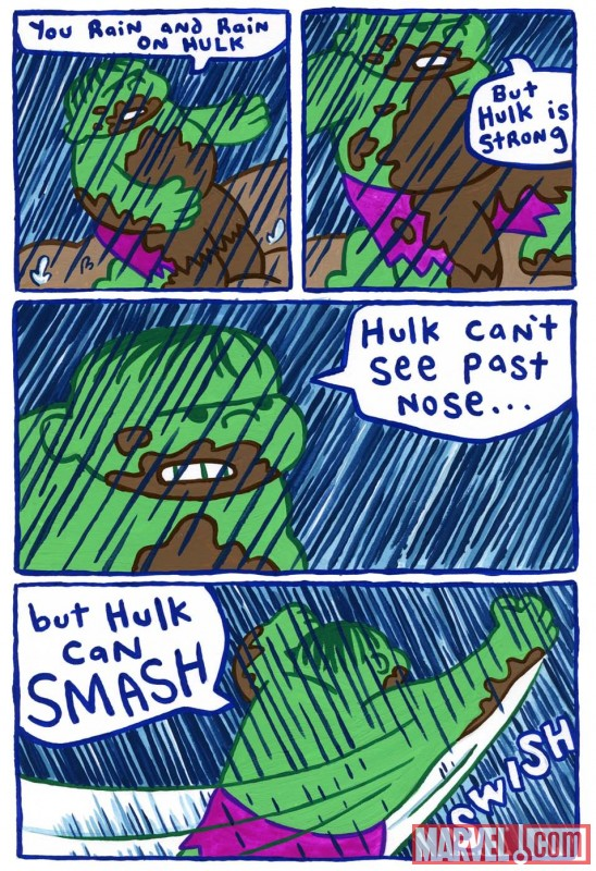 A page from Hulk vs The Rain by James Kochalka