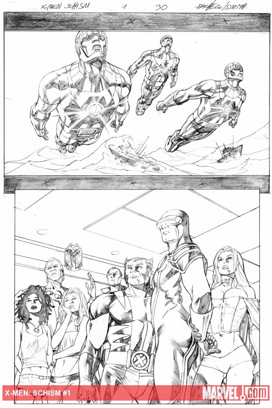 X-Men: Schism #2 penciled preview art by Frank Cho
