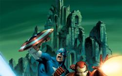 Thor with fellow Avengers Iron Man and Captain America