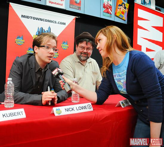 The Watcher's Lorraine Cink and Nick Lowe at Avengers Vs X-Men Release Party at Midtown Comics