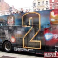 Bus covered with Iron Man 2 signage in New York City