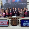 Chris Evans and Marvel Executives at the NYSE. Photo By Ben Hider
