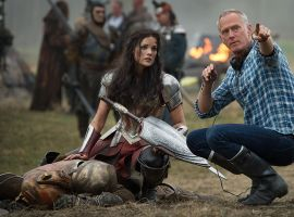 Star Jaimie Alexander (Sif) and director Alan Taylor on the set of Marvel's Thor: The Dark World