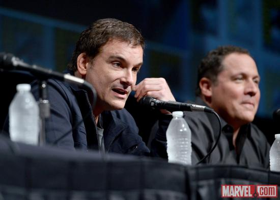 Iron Man 3 director Shane Black and star Jon Favreau at Marvel Studios' Hall H presentation at SDCC 2012