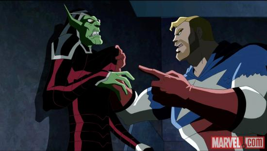 Captain America faces his Skrull captors in The Avengers: Earth's Mightiest Heroes!