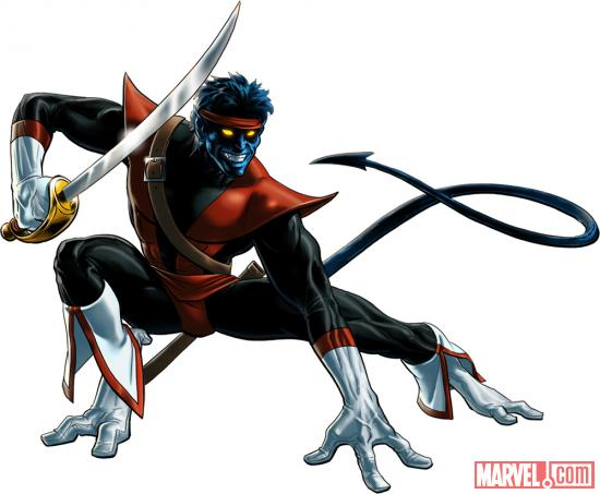Nightcrawler (Swashbuckler alternate costume) character model from Marvel: Avengers Alliance
