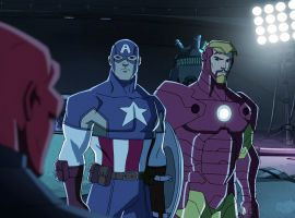 Captain America and Iron Man face the Red Skull in Marvel's Avengers Assemble