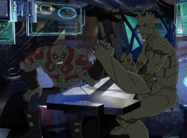 Drax and Groot arm wrestle in 'Marvel's Guardians of the Galaxy'