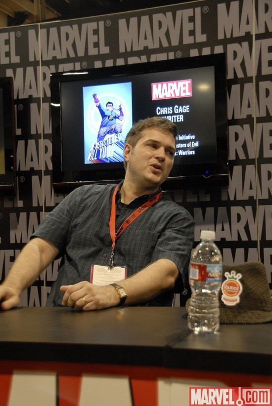 Writer Chris Gage at the Marvel Booth