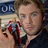 Chris Hemsworth and the Thor Action Figure from Hasbro at Toy Fair 2011
