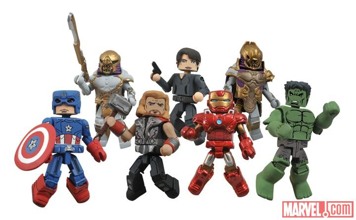 Captain America, Thor, Iron Man, Hulk, and Maria Hill minimates from Diamond Select Toys