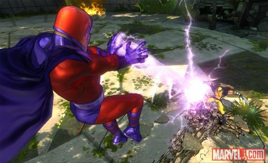 Screenshot of Magneto vs. Wolverine in Marvel Avengers: Battle for Earth