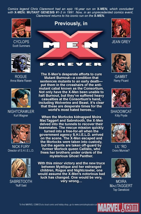 X-Men Forever 2 #6 recap page