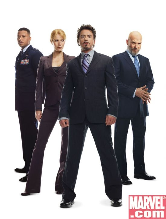 The Iron Man cast (L-R): James Rhodes (Terrence Howard), Pepper Potts (Gwyneth Paltrow), Tony Stark (Robert Downey Jr). and Obad