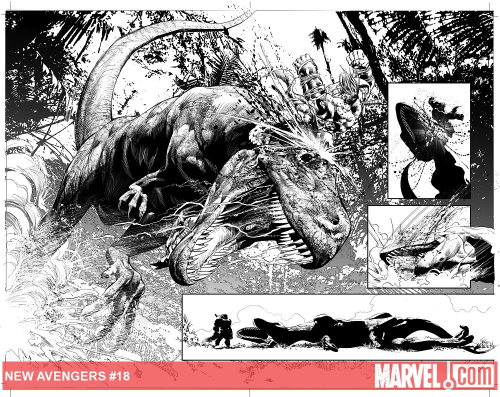 New Avengers (2010) #18 preview inks by Mike Deodato