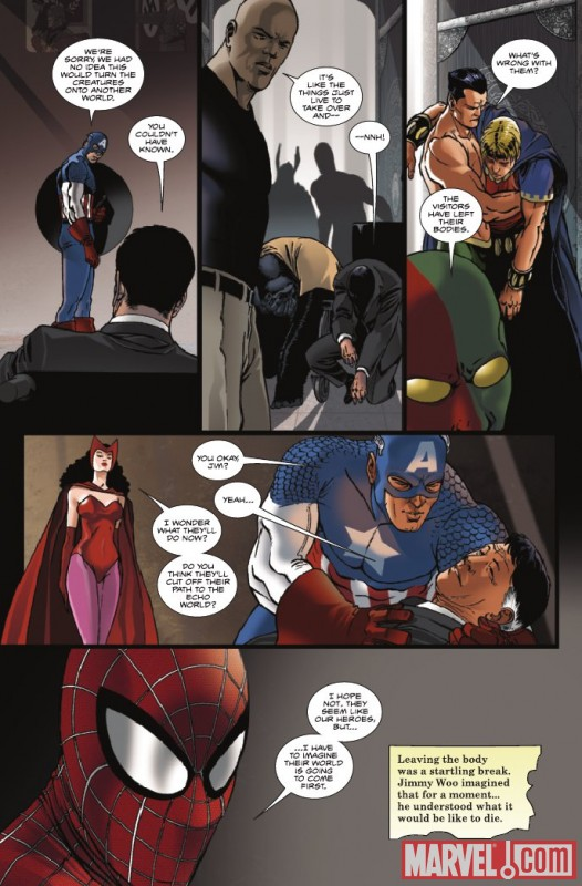 Image Featuring Luke Cage, Captain America, Scarlet Witch, Spider-Man, Sub-Mariner, Jimmy Woo