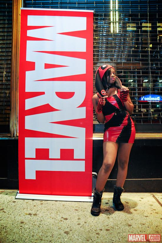 Deadpool Cosplayer at AvX Release Party at Midtown Comics