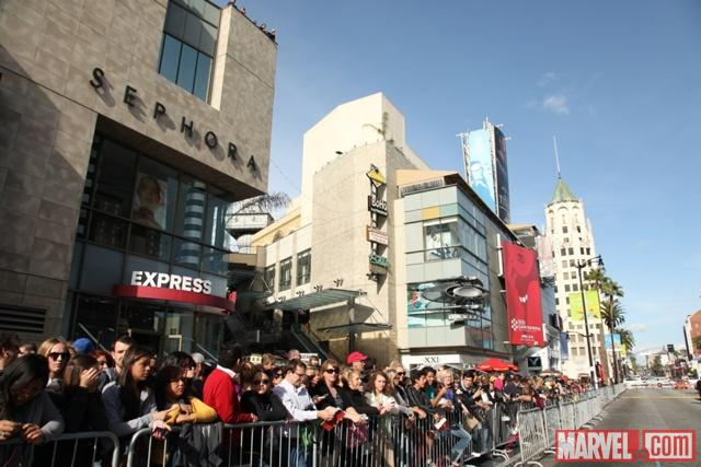 Amazing fans assembling across the street from the El Capitan Theatre