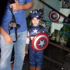 A young Captain America cosplayer at El Capitan Theatre's midnight screening of Marvel's The Avengers