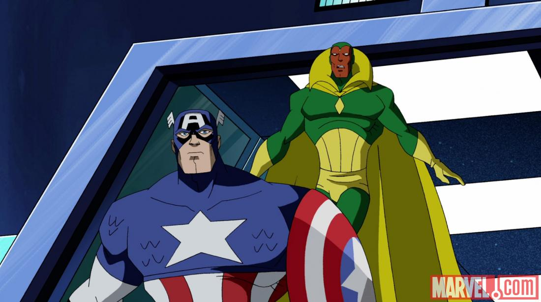 Screenshot of Captain America and Vision from AEMH Season 2, Ep. 19