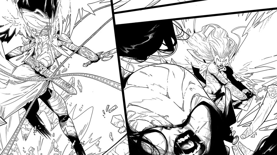 Angela: Queen of Hel preview inks by Kim Jacinto