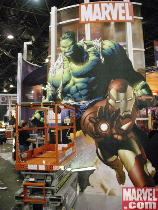 Upper Deck's in-construction booth, complete with awesome Marvel standees