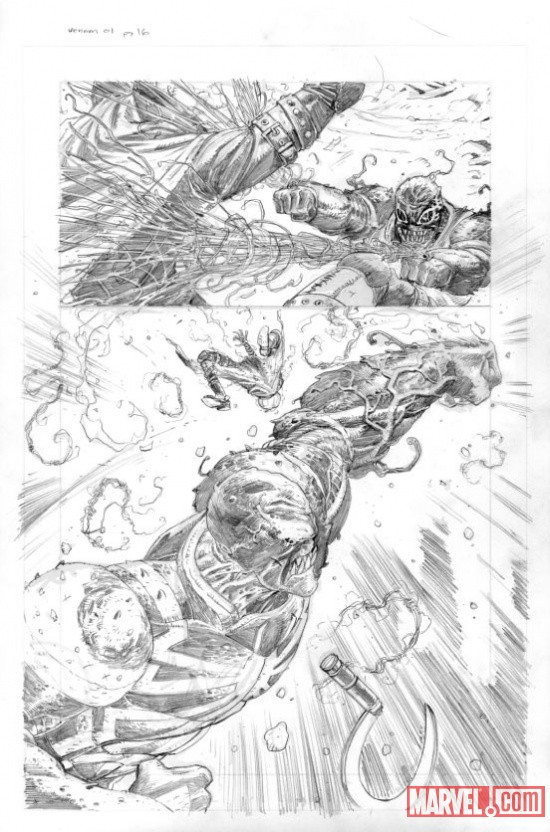 Venom (2011) #1 preview pencils by Tony Moore