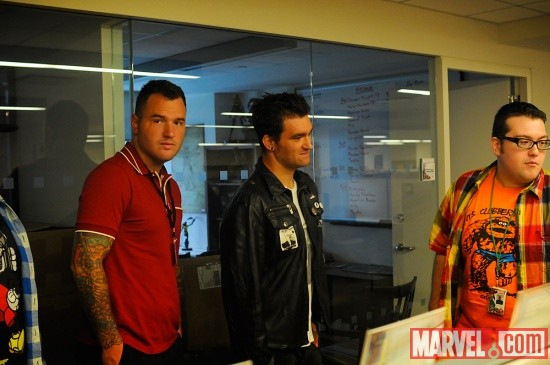Agent M with New Found Glory members Chad Gilbert and Jordan Pudnik at Marvel HQ in NYC