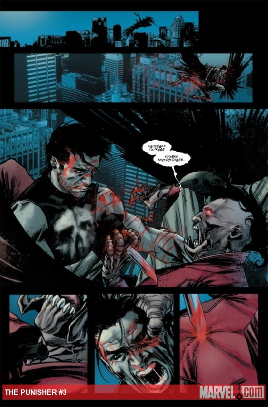 The Punisher takes down the Vulture without a word
